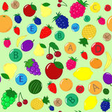 Vitamins in fruits vector. Seamless fruits and vitamins background. healthy nutrition Stock Photography
