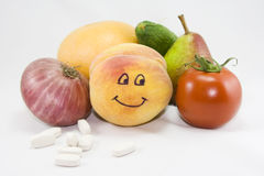 Vitamins from fruits and vegetables. Representation of vitamins from fruits and vegetables Stock Images