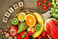 Vitamins in fruits and vegetables Royalty Free Stock Images