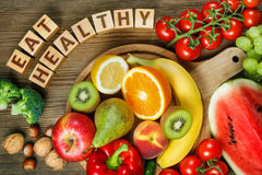 Vitamins in fruits and vegetables Royalty Free Stock Image