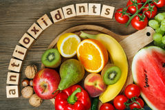 Vitamins in fruits and vegetables Stock Photos