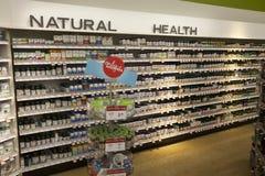 Vitamins Health, shop shelves. Pharmaceutical products. Shop shelves with pharmaceutical products with vitamin. Vitamin supplements for health Stock Photo