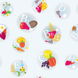 Vitamins and healthy eating symbols seamless Stock Photos
