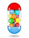 Vitamins. Healthy life creative concept - multi vitamins in capsule vector illustration
