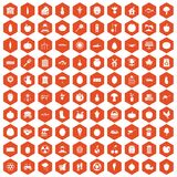 100 vitamins icons hexagon orange. 100 vitamins icons set in orange hexagon isolated vector illustration Royalty Free Stock Photography