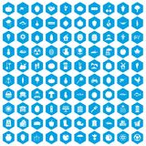 100 vitamins icons set blue. 100 vitamins icons set in blue hexagon isolated vector illustration Stock Illustration