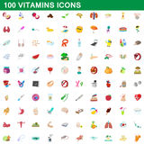 100 vitamins icons set, cartoon style. 100 vitamins icons set in cartoon style for any design vector illustration Stock Photography