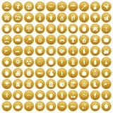 100 vitamins icons set gold. 100 vitamins icons set in gold circle isolated on white vector illustration Vector Illustration