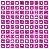 100 vitamins icons set grunge pink. 100 vitamins icons set in grunge style pink color isolated on white background vector illustration Royalty Free Illustration