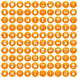 100 vitamins icons set orange. 100 vitamins icons set in orange circle isolated on white vector illustration Vector Illustration