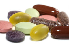 Vitamins and Minerals. Several vitamin pills and capsules Stock Image