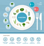 Vitamins and minerals. Calcium mineral nutrition infographic with medical and food icons: diet, healthy food and wellbeing concept Royalty Free Stock Photo