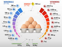 Vitamins and minerals of chicken egg. Infographics about nutrients in raw egg. Best vector illustration for bird eggs, food, poultry farming, vitamins, health Stock Photo