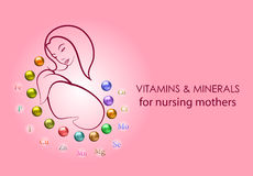 Vitamins and minerals for nursing mothers Stock Photography