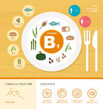 Vitamins and minerals. Vitamin B1 nutrition infographic with healthcare and food icons: diet, healthy food and wellbeing concept Stock Photography