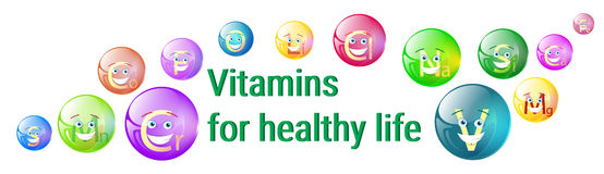 Vitamins Nutrient Minerals Colorful Banner Healthy Life Royalty Free Stock Photography