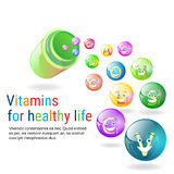Vitamins Nutrient Minerals Colorful Banner Healthy Life Stock Photos