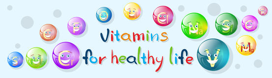 Vitamins Nutrient Minerals Colorful Banner Healthy Life Royalty Free Stock Photos