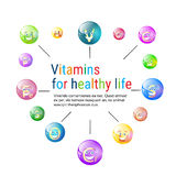 Vitamins Nutrient Minerals Colorful Banner Healthy Life Stock Image