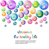 Vitamins Nutrient Minerals Colorful Banner Healthy Life Stock Photography