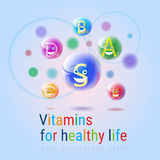 Vitamins Nutrient Minerals Colorful Banner Healthy Life Nutrition Chemistry Element Concept Stock Photo