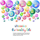 Vitamins Nutrient Minerals Colorful Banner Healthy Life Nutrition Chemistry Element Concept Stock Photos