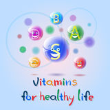 Vitamins Nutrient Minerals Colorful Banner Healthy Life Nutrition Chemistry Element Concept Royalty Free Stock Image