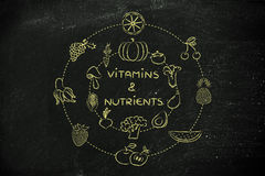 Vitamins and nutrients: healthy natural food like fruit and vege Royalty Free Stock Image