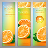Vitamins in Orange. Orange health benefits banners with a fresh fruit and colourful pill on a colourful background. Beautiful vector illustration. Oranges are Royalty Free Stock Photos