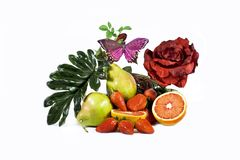 Vitamins and rose. Arrangement from artificial leaves, a red rose and berries of a strawberry Royalty Free Stock Photo