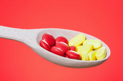 Vitamins in the spoon Stock Photo