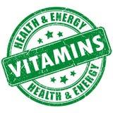 Vitamins stamp. Vitamins vector stamp on white background stock illustration