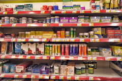 Vitamins on supermarket shelves Royalty Free Stock Photos