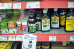 Vitamins on supermarket shelves Royalty Free Stock Images