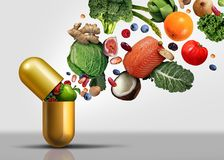 Vitamins Supplements Symbol. Vitamins supplements as a capsule with fruit vegetables nuts and beans inside a nutrient pill as a natural medicine health treatment