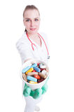 Vitamins or supplements concept with trustworthy female doctor g Royalty Free Stock Photography