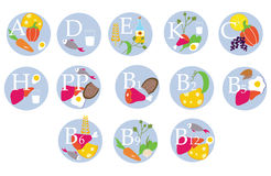 Vitamins table - funny icons Royalty Free Stock Photography
