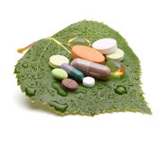 Vitamins, tablets and pills Royalty Free Stock Photo