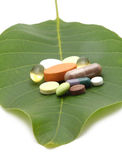 Vitamins, tablets and pills on leaf Stock Images