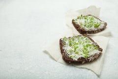 Vitaminsmörgåsar med smör och mikrogräsplaner kopiera avstånd arkivfoto