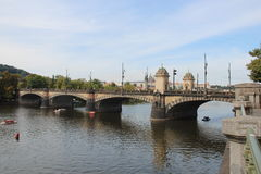 Vitas Bridge, Prague. Vitas Bridge in Prague is a complementary to Charles Bridge which is also located in the same city. The ancient Gothic nature of the city Royalty Free Stock Photography