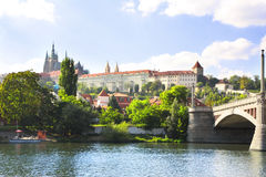 Vitava river and St. Vitus Cathedral in Prague Royalty Free Stock Photography