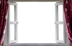 Vitbakgrund för öppet fönster Fotografering för Bildbyråer