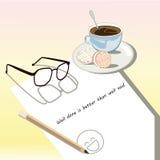 Vitbokanmärkning med koppen kaffe Arkivfoton