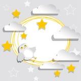 Vitbokbaner med stjärnor, moln och ugglan Fotografering för Bildbyråer