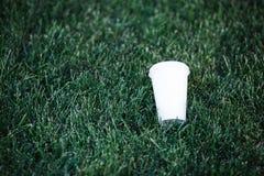 Vitbokkopp för kaffe utan inskrifter och etikett på det gröna gräset Copyspace royaltyfria foton