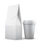 Vitbokpåse och kopp för lunch på vit bakgrund 3d framför royaltyfri illustrationer