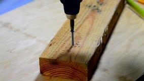 Vite di legno avvitata nel bordo 2x4 video d archivio
