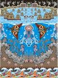 Vite di mare sulla decorazione blu del mare Fotografia Stock