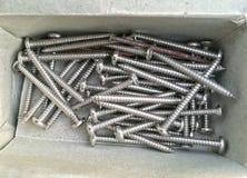 Vite di metallo nel paperbox Fotografia Stock